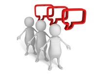 Weiße Leute 3d mit roten Sprache-Blasen Stockbild