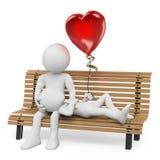 weiße Leute 3D. Paare in der Liebe auf einer Parkbank Lizenzfreies Stockfoto