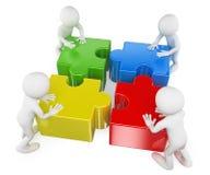 weiße Leute 3D. Teamwork, die das Puzzlespiel löst Lizenzfreies Stockfoto