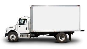 Weiße Lieferwagen-Seitenansicht Stockbild