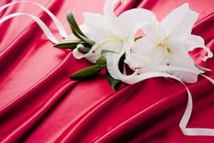 Weiße Lilie Casablanca auf dem roten Satin Lizenzfreies Stockbild