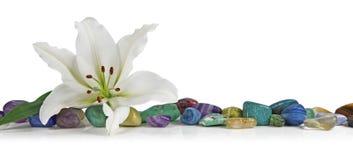 Weiße Lilie und heilender Kristall Lizenzfreie Stockbilder