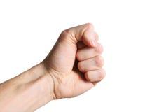Weiße Hand, die eine bedrohliche Geste mit einem entschiedenen Faustzeichen zeigt Stockbild