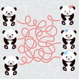 Weiße Mündung lustigen Pandas Kawaii mit rosa Backen und großen blauen Augen Labyrinthspiel für Vorschulkinder Vektor Stockfoto