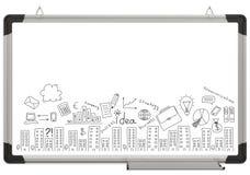 Weiße magnetische Brett- und Geschäftsskizzen Stockbilder