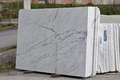 Weiße Marmorplatten Stockbild