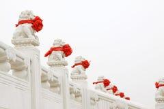 Weiße Marmorstatue der materiellen Steinlöwen, chinesisches traditi Lizenzfreie Stockbilder