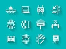 Weiße moderne Ikonen für Hausheizung Stockbilder
