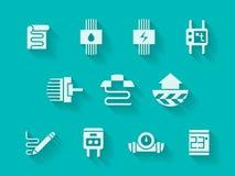 Weiße moderne Ikonen für Heizsystem Lizenzfreies Stockbild