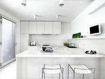 Weiße moderne Küche Stockbilder