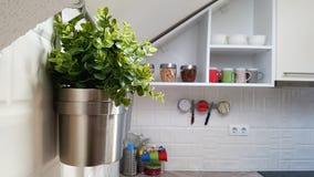 Weiße moderne Küche mit Stahltöpfen stockfoto