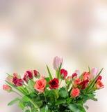 Weiße, orange, rote und gelbe Rosen blüht, Blumenstrauß, Blumengesteck, rosa bokeh Hintergrund, lokalisiert Lizenzfreie Stockfotos