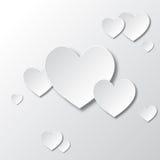 Weiße Papierherzen Stockbild