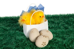 Weiße Papiertüte mit Ostern-Schätzchenhühnern Stockfotos