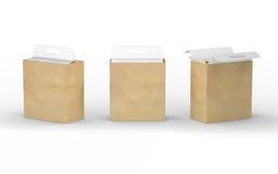 Weiße Pappe und braune Papierkastenverpackung mit Griff, clipp Stockbild