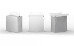 Weiße Papppapierkastenverpackung mit Griff, Beschneidungspfad Lizenzfreie Stockfotos