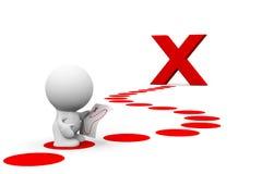 Weiße Person 3d, die eine Schatzkarte liest, um ein großes Rot X zu erreichen Lizenzfreie Stockfotografie