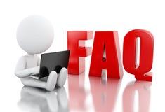 weiße Person 3d mit Laptop nahe bei FAQ Stock Abbildung