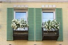 Weiße Petunien auf dem Balkon Lizenzfreie Stockfotografie