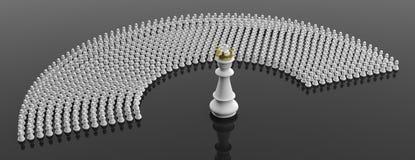Weiße Pfand und ein Schachkönig auf schwarzem Farbhintergrund, Fahne Abbildung 3D vektor abbildung
