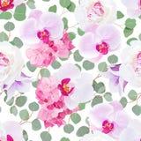 Weiße Pfingstrose, rosa Hortensie, purpurrote Orchidee, violette Glockenblume und nahtloses Vektormuster der Eukalyptusblätter stock abbildung