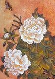 Weiße Pfingstrose und Schmetterling lizenzfreie abbildung