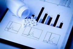 Weiße Pillen und medizinische Druckdiagramme Stockbilder