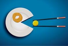 Weiße Platte, die mealball mit Essstäbchen isst Stockfoto