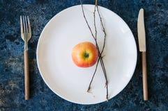 Weiße Platte, rote Apfel-, Tischbesteck- und Baumbrunchs auf einem blauen ston Lizenzfreie Stockbilder