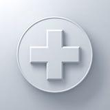 Weiße Pluszeichenzusammenfassung auf rundem Schild über weißem Wandhintergrund mit Schatten Lizenzfreie Stockfotografie
