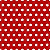 Weiße Polkapunkte mit Rot Stockfotos