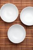 Weiße Porzellan-Suppe-Schüsseln Stockbild