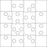 16 weiße Puzzlespiel-Stücke - Laubsäge - Vektor Lizenzfreie Stockbilder
