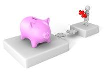 Weiße Puzzlespielbrücke des Mannes 3d zur piggy Geldbank Lizenzfreie Stockbilder