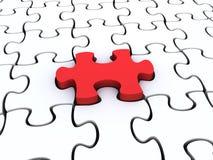 Weiße Puzzlespielstücke mit einem Rot angehoben Stockfotografie