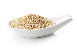 Weiße Quinoa im weißen Porzellanlöffel Stockbild