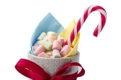Weiße, rosa und grüne Eibische in einer Schale, Weihnachtssüßigkeit auf einem weißen Hintergrund Lizenzfreie Stockbilder