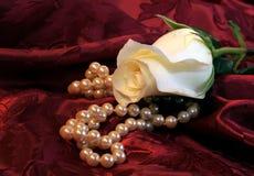 Weiße Rose und Perlen Stockbild