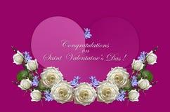 Weiße Rosen mit den Knospen und purpurrotes Singrün mit rosa Herzen auf Farbfuchsienhintergrund Lizenzfreies Stockbild