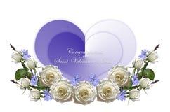 Weiße Rosen mit den Knospen und purpurrotes Singrün mit zwei blauen Herzen auf einem weißen Hintergrund Stockfotos
