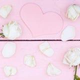 Weiße Rosen und Blumenblätter Lizenzfreies Stockbild