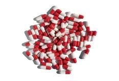 Weiße rote Pillen Stockfoto