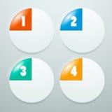 Weiße, runde Elemente von Informationgraphiken mit der Nummerierung Lizenzfreie Stockfotografie