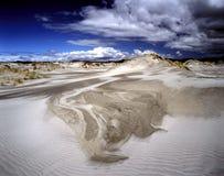 Weiße Sanddünen auf der Insel des Abschiedsspuckens, Südinsel, Neuseeland Stockfotografie