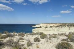 Weiße Sandküste der Wüste stockfoto
