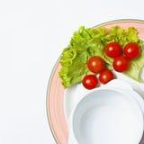 Weiße Schüssel auf einer Platte mit Tomaten und Salat Lizenzfreie Stockfotos