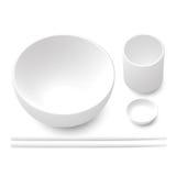 Weiße Schüssel, Essstäbchen, Dipschale und Teeschale Vektor Abbildung
