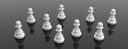 Weiße Schachpfand auf schwarzem Farbhintergrund, Fahne Abbildung 3D vektor abbildung