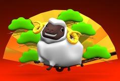 Weiße Schafe und goldener Fan Stockfotografie
