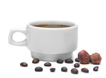 Weiße Schale Espresso auf einem weißen Hintergrund Lizenzfreie Stockfotos